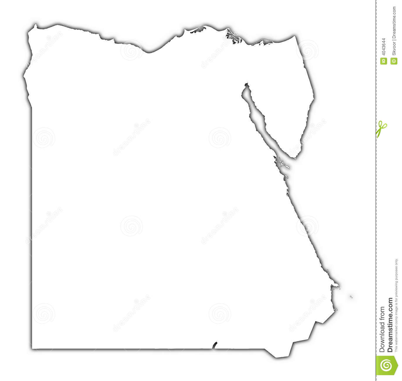 Egypt Outline Map With Shadow Stock Images
