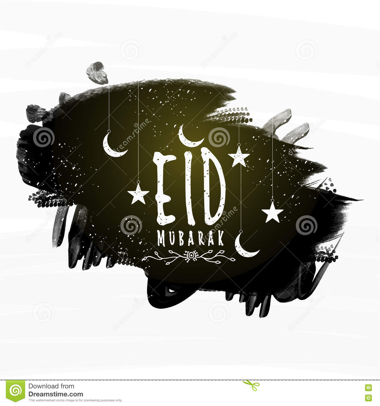 Eid Mubarak Celebration With Crescent Moon And Stars