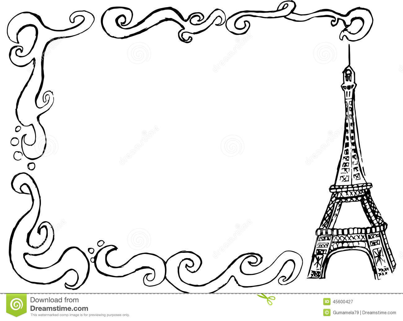Eiffel tower border stock illustration. Image of patterns
