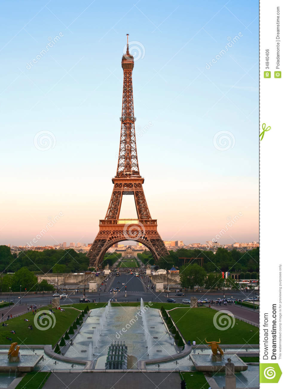 Eiffel Tower At Dusk Paris France Royalty Free Stock Image Image 34840406