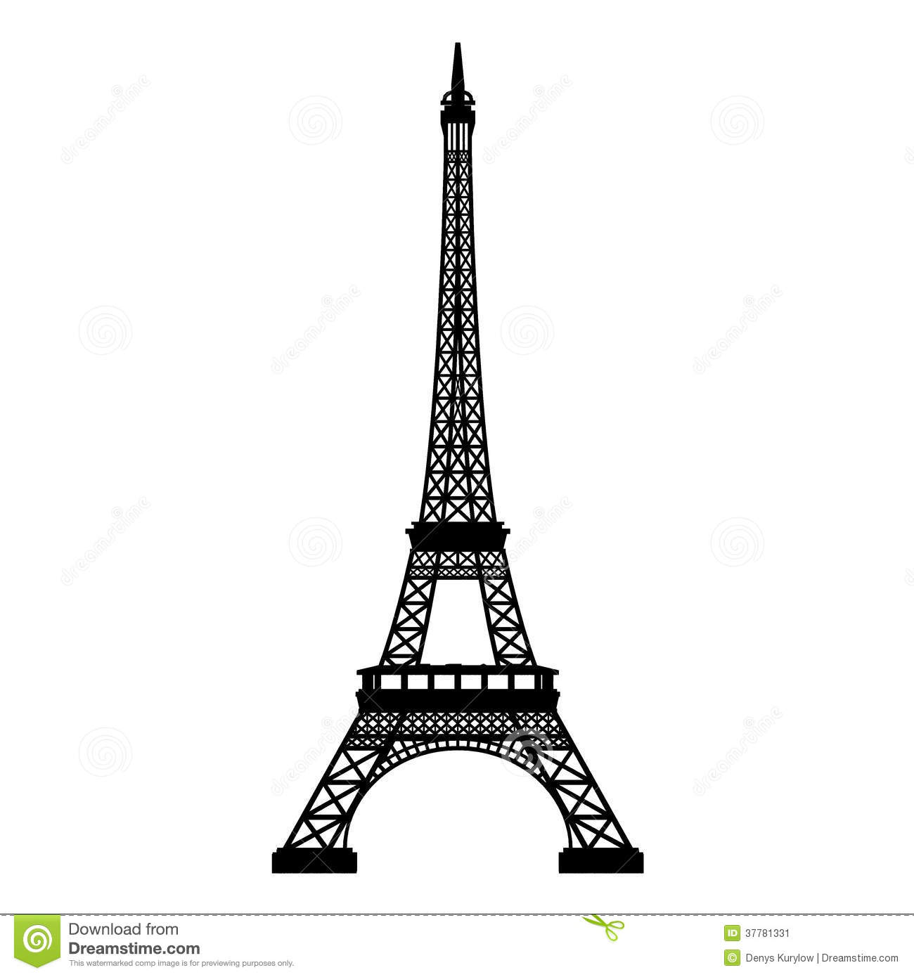 Eiffel Tower Front Silhouette Isolated Stock Illustration