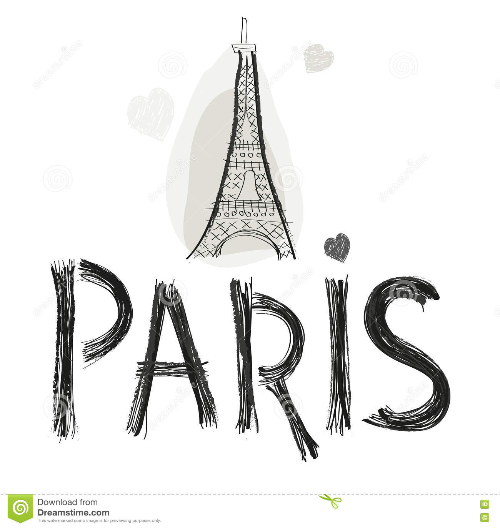 Eiffel Tower. Paris Hand Drawn Letter Vector Illustration