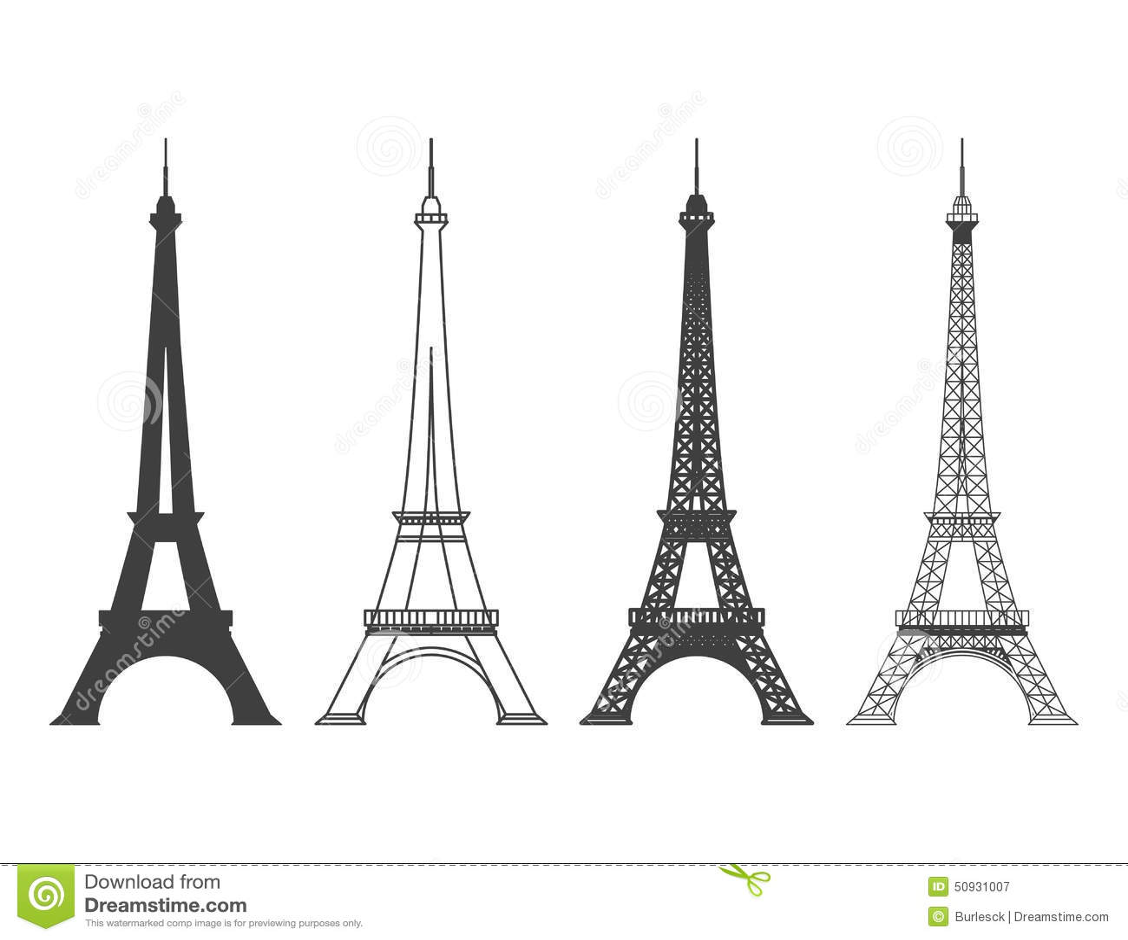 Eiffel Tower In Paris Vector Silhouette Stock Vector