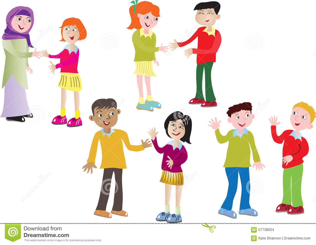 Eight Children Greeting Each Other Stock Vector