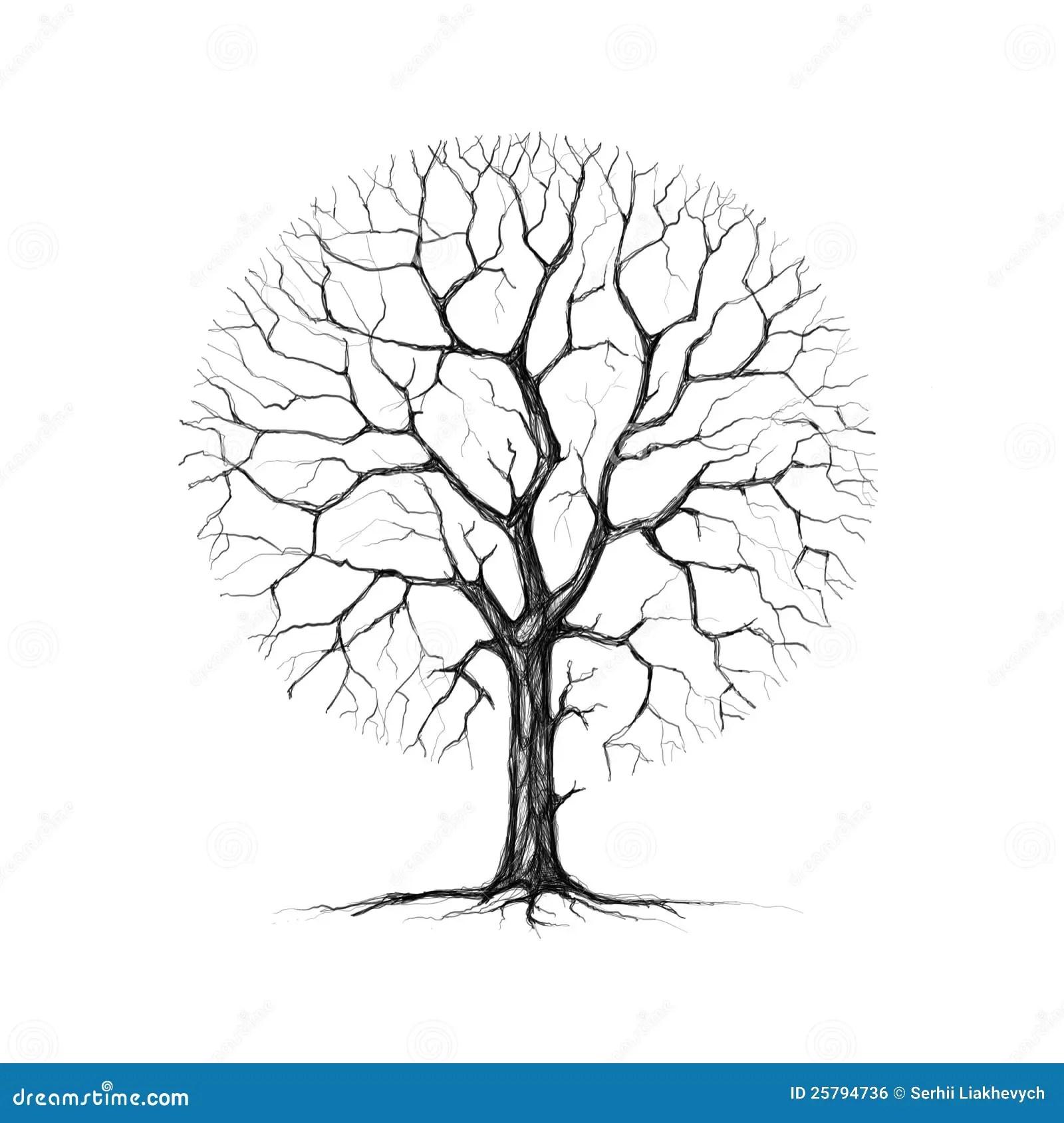 Ein Baum Winter Zeichnend Stock Abbildung