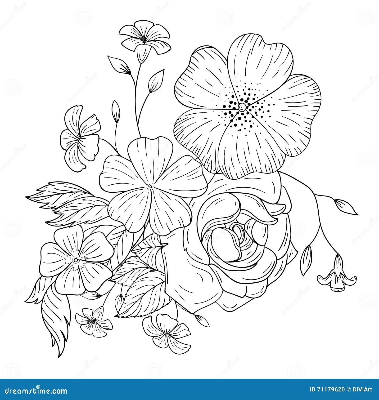 Ein Blumenstrau Von Blumen Fr Malbcher Vektor Abbildung