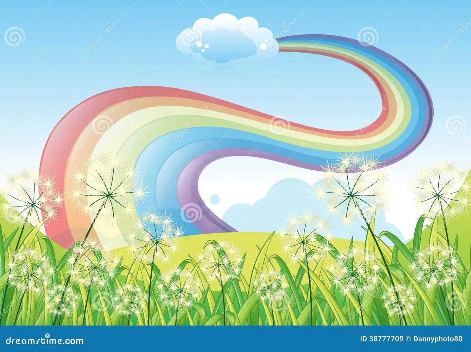 Ein Regenbogen Im Klaren Blauen Himmel Vektor Abbildung