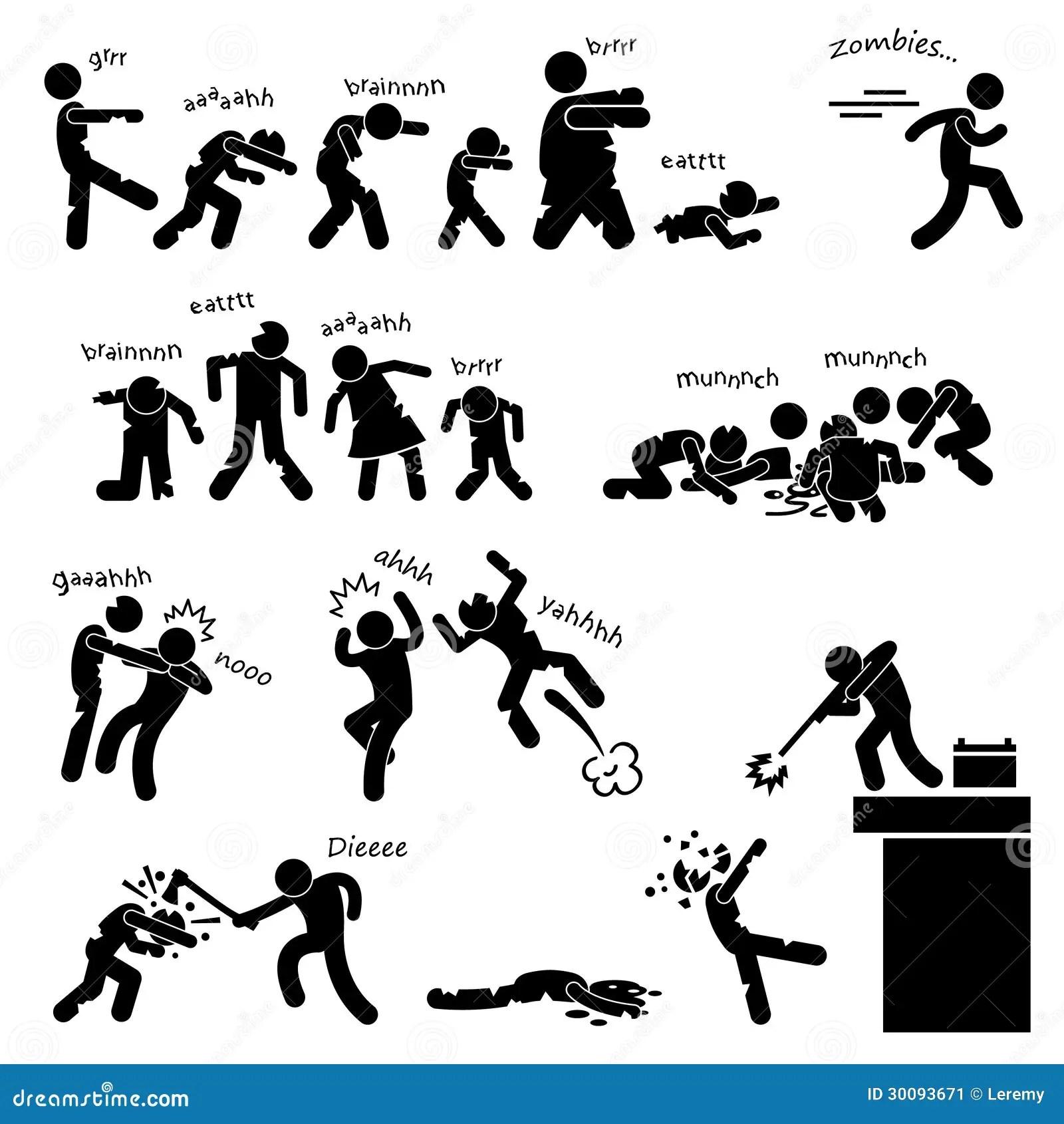 Zombieundead Angriffs Piktogramm Vektor Abbildung