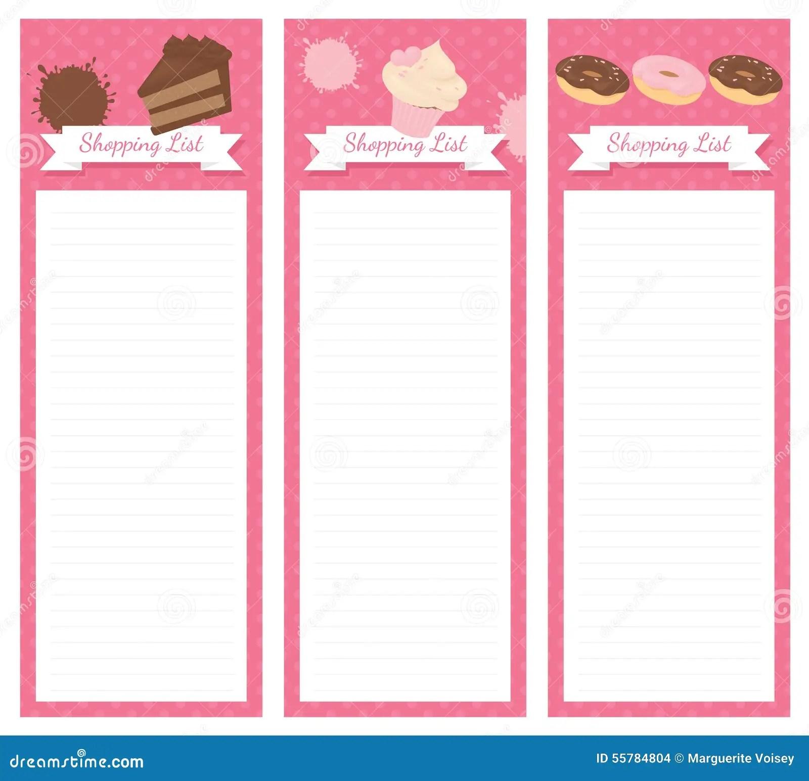 Einkaufsliste Design Kuchen Stock Abbildung