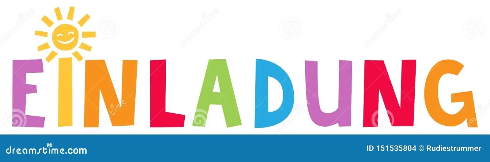 https www dreamstime com einladung german invitation colorful lettering einladung german invitation colorful lettering sun as dot i image151535804