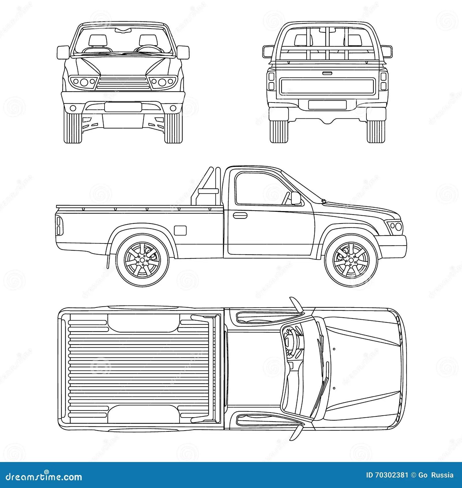 Ejemplo Del Vector Del Taxi De La Camioneta Pickup Una Del