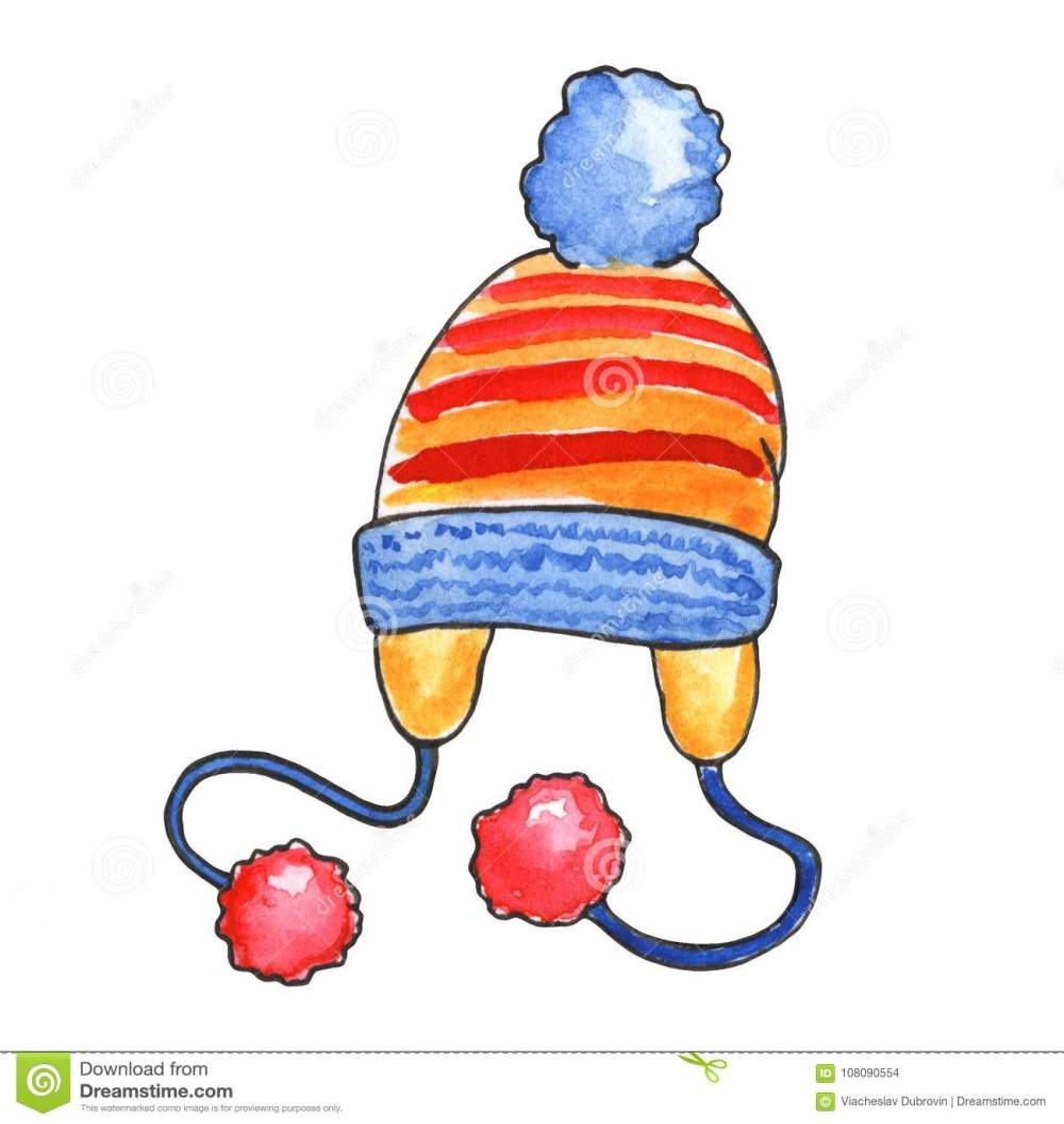medium resolution of ejemplo hecho punto de la acuarela del sombrero en el fondo blanco el invierno caliente viste el clipart casquillo hecho punto con los pompones aislados