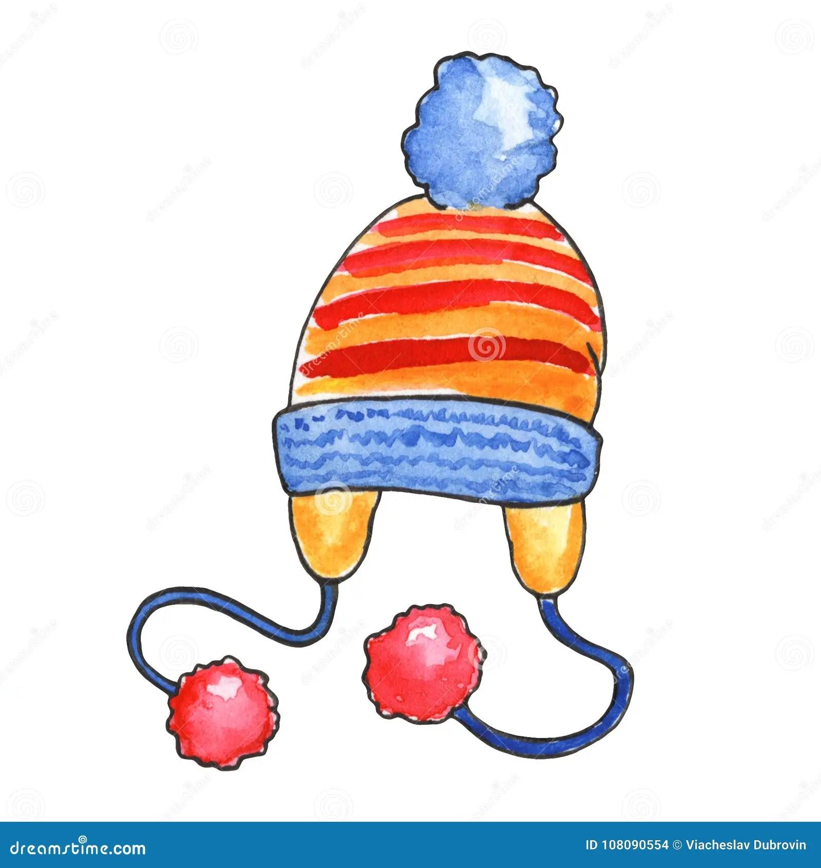 hight resolution of ejemplo hecho punto de la acuarela del sombrero en el fondo blanco el invierno caliente viste el clipart casquillo hecho punto con los pompones aislados