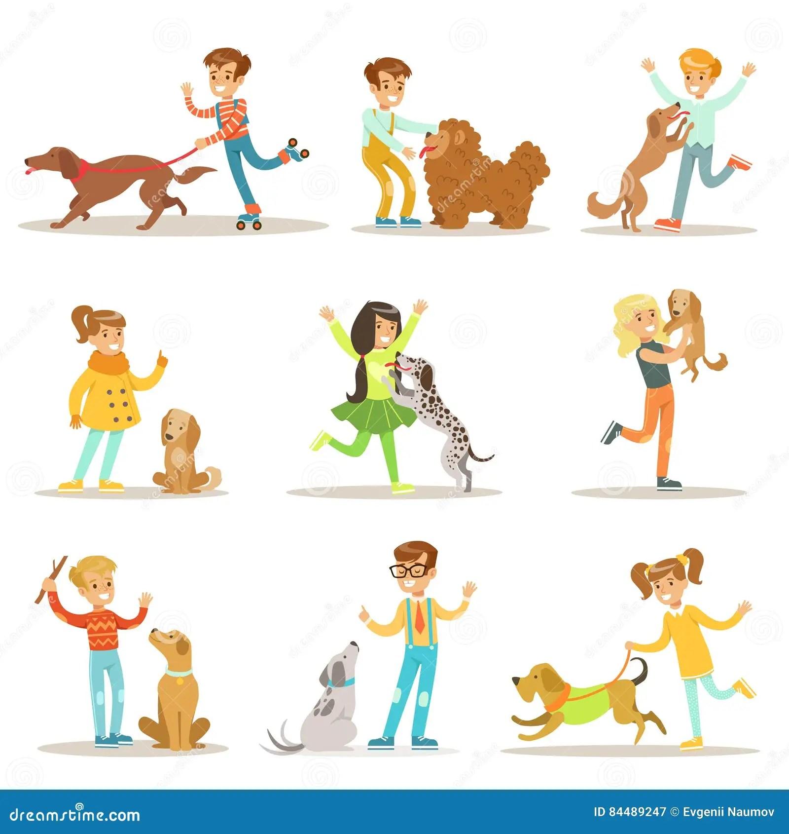 Ejemplos De Los Ninos Y De Los Perros Fijados Con Los