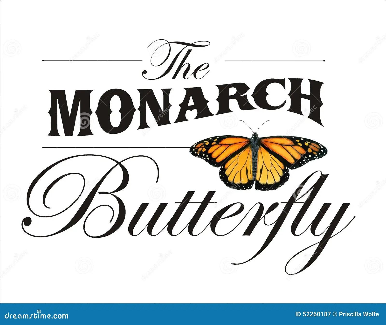 El Cartel De La Mariposa De Monarca Foto de archivo