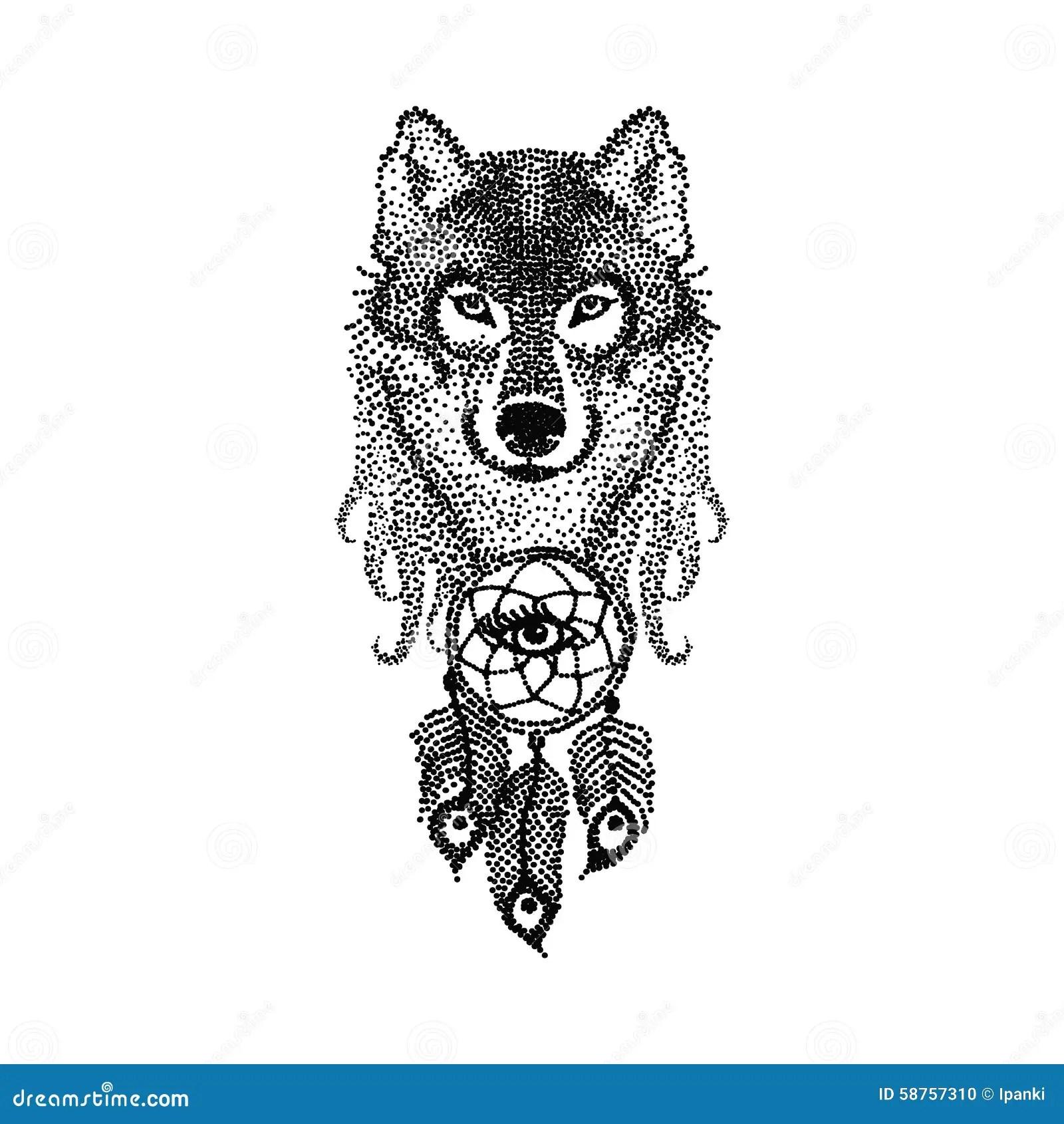 El Diseño Del Tatuaje De Dotwork Estilizó La Cara Del Lobo Con El