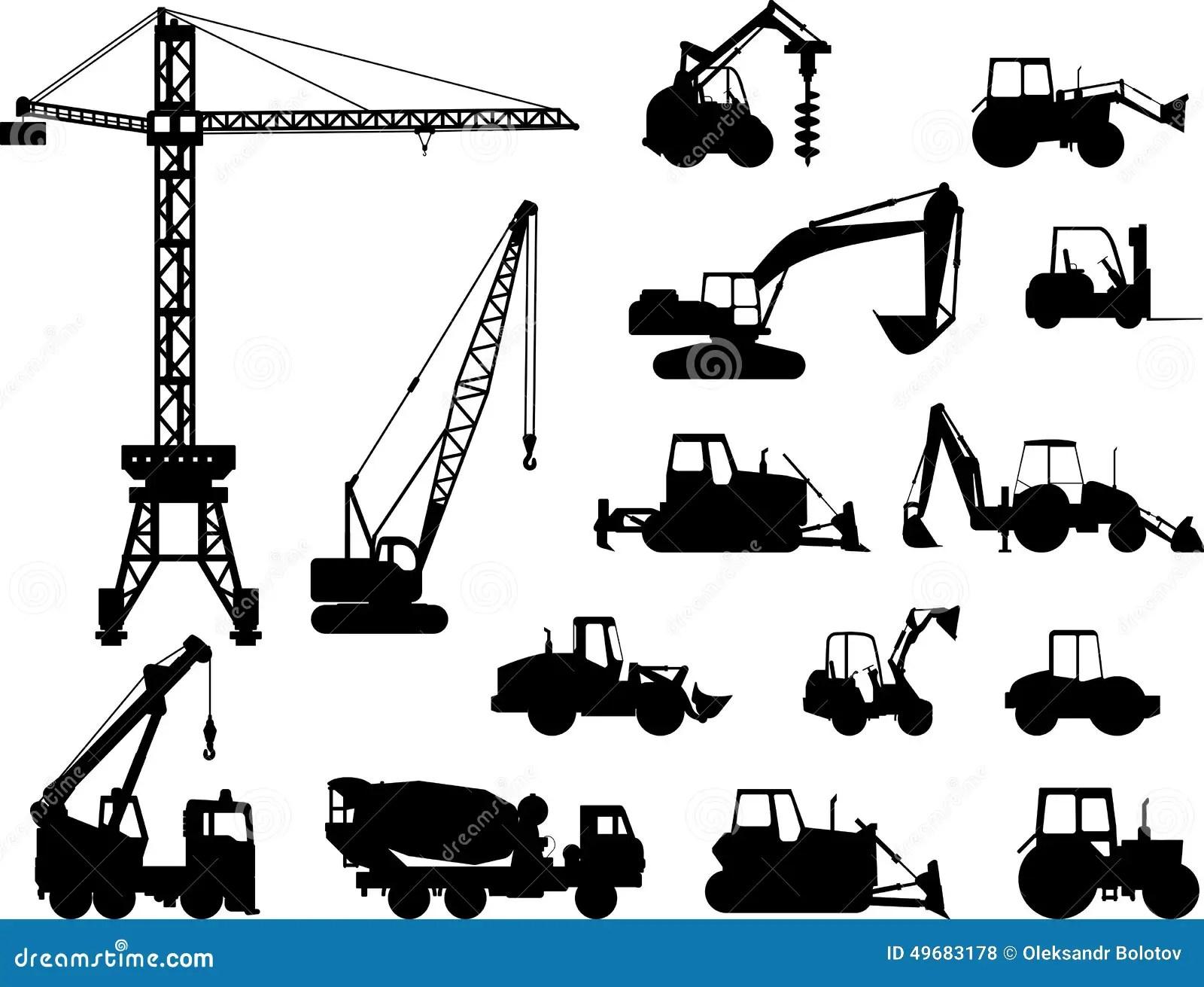 El Sistema De Construccion Pesada Trabaja A Maquina Iconos