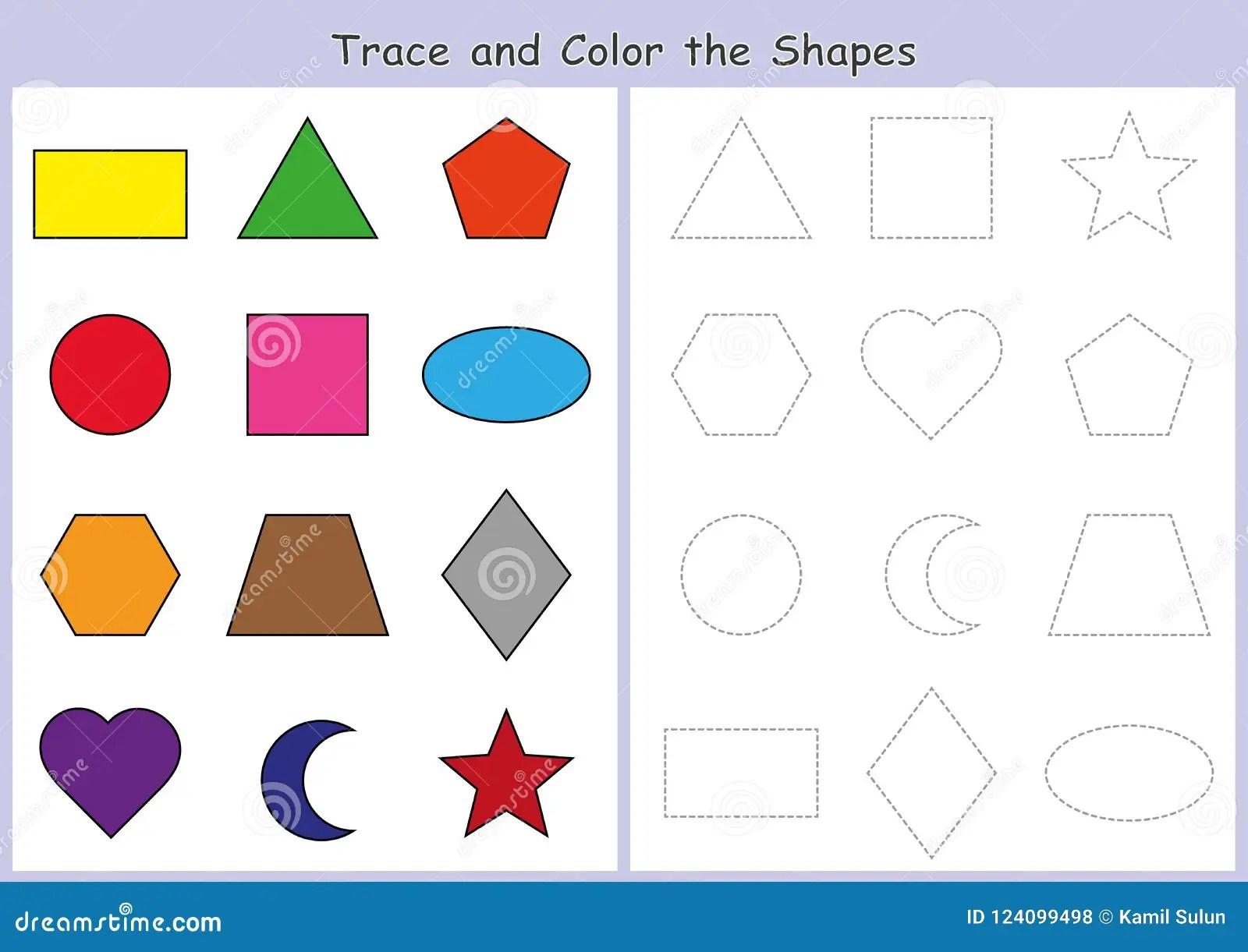 Amazing El Trazo Y Colorea Las Formas Geometricas Hoja De