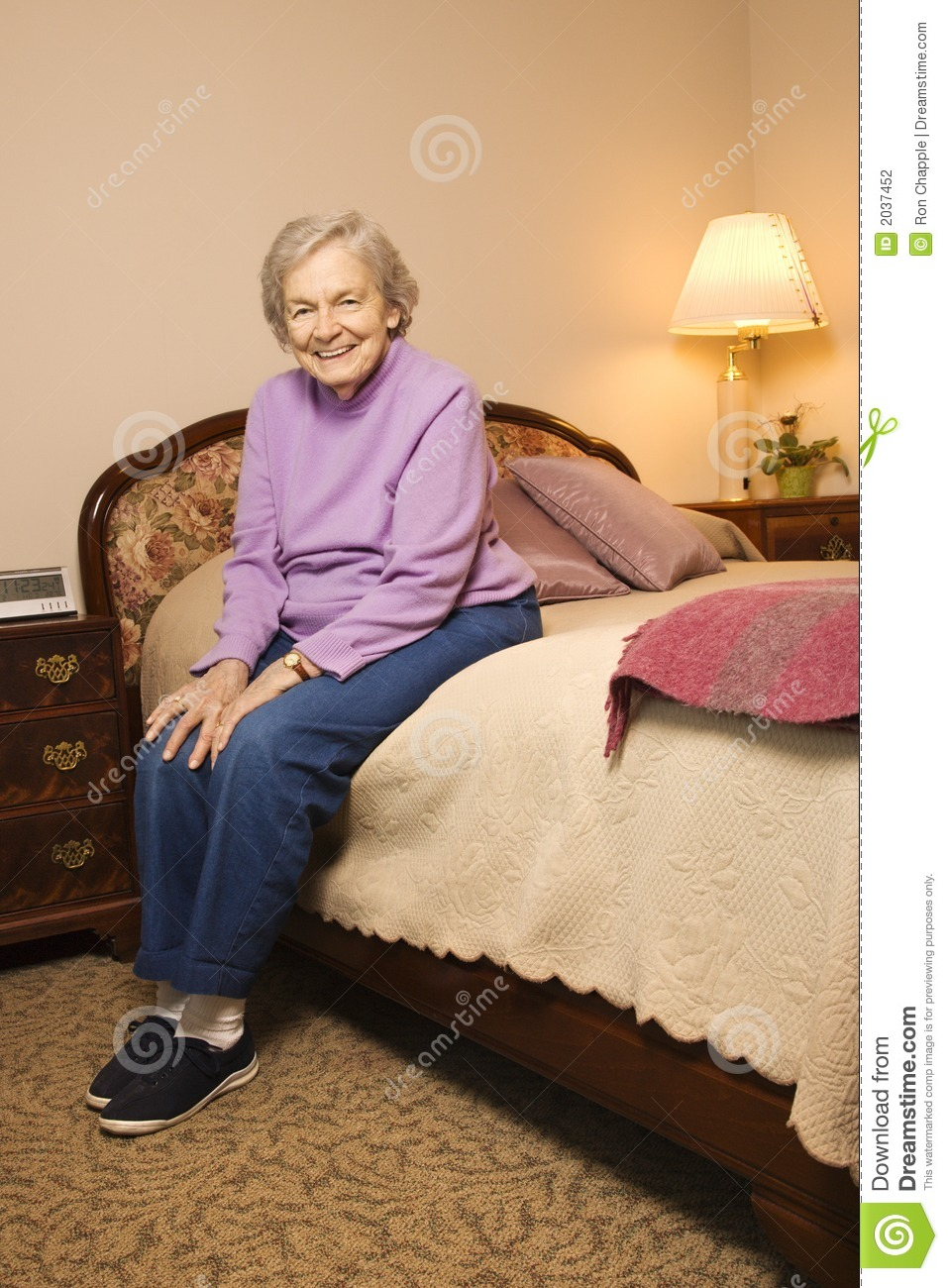 Elderly Caucasian Woman In Bedroom Stock Photo  Image of