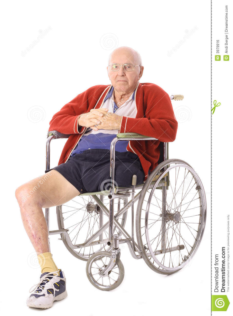 Elderly Man With Leg Amputation Vertical Royalty Free