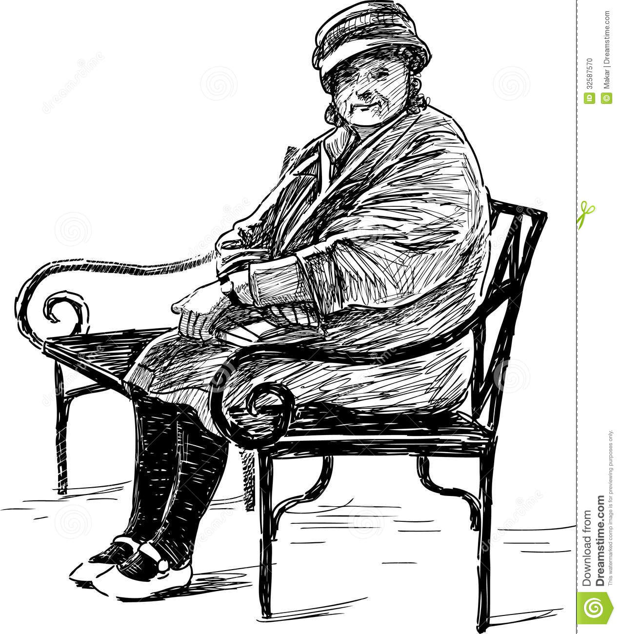 Elderly Woman On The Bench Stock Photo Image Of Drawn