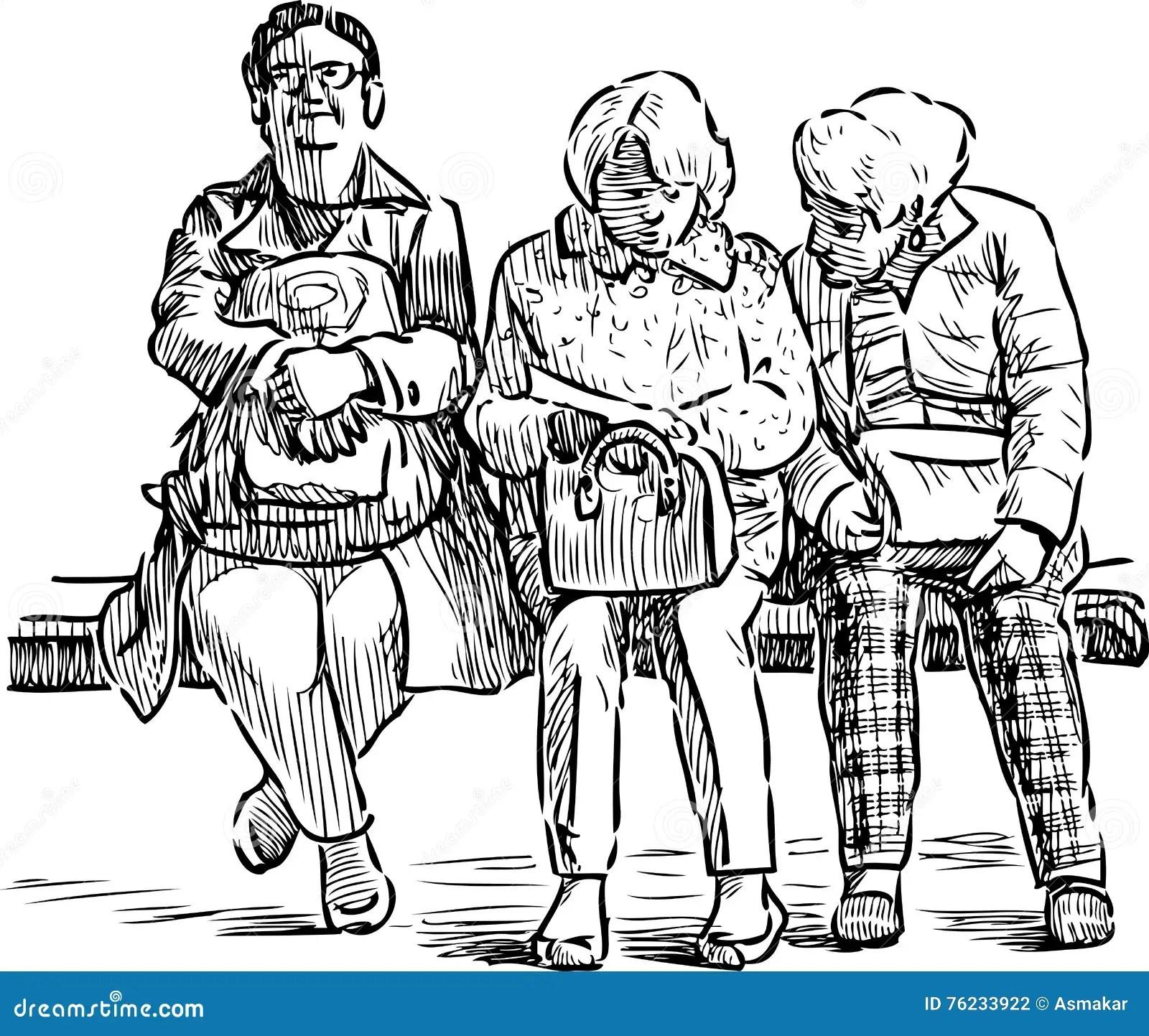 Elderly Women On A Park Bench Stock Vector