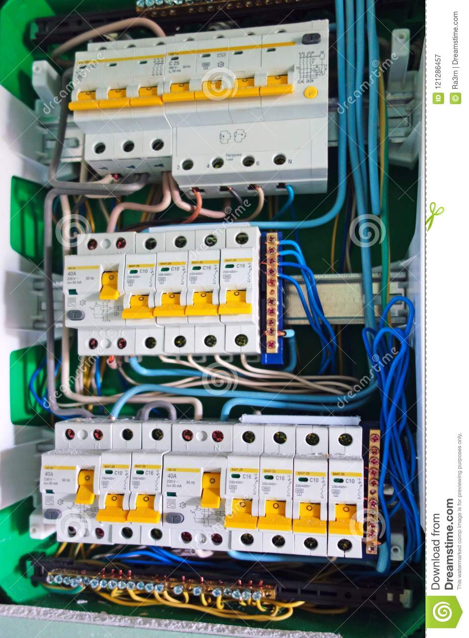 medium resolution of electric board with circuit breakers circuit breaker used on items such as a residential iron hot water heater a kitchen oven or an electric clothes