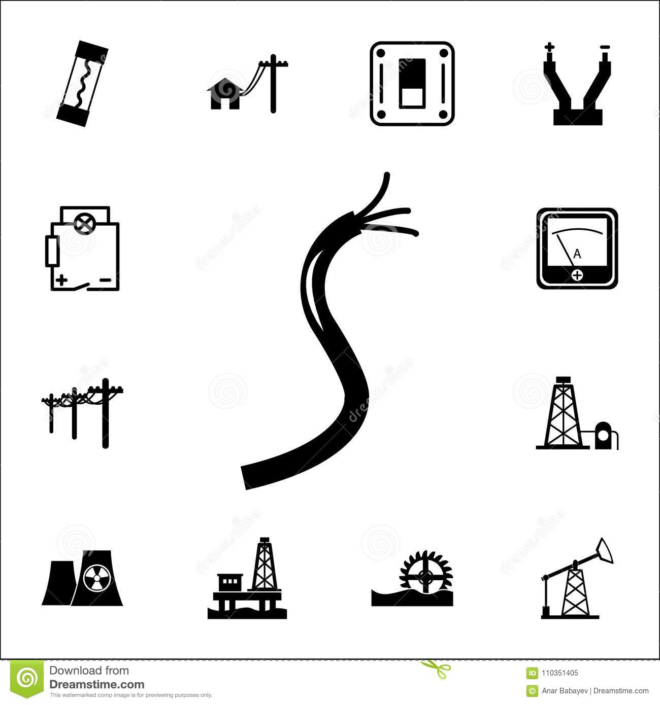 Electric Cable Icon. Set Of Energy Icons. Premium Quality