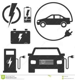 electric car charging station sign set of vector illustrations eco fuel for automobile transport black signs isolated on white car with a plug  [ 1300 x 1390 Pixel ]