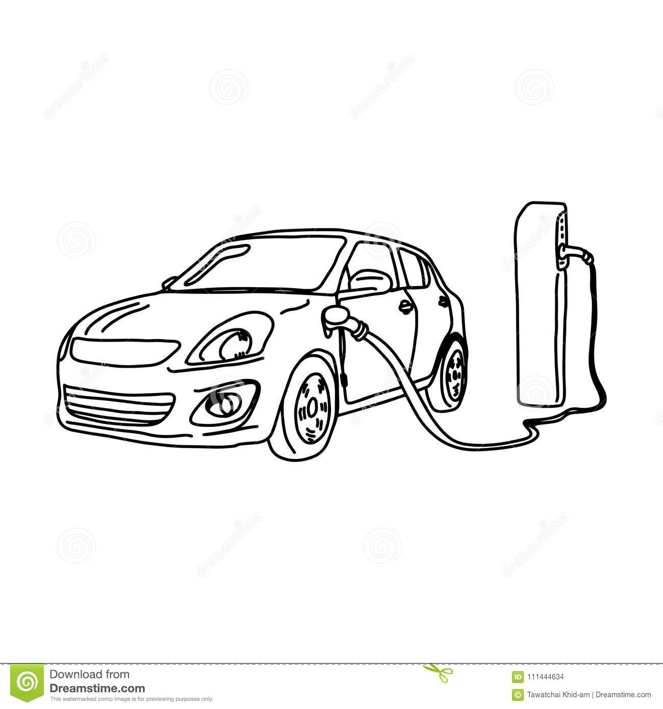 Electric Car And Charging Station Vector Illustration