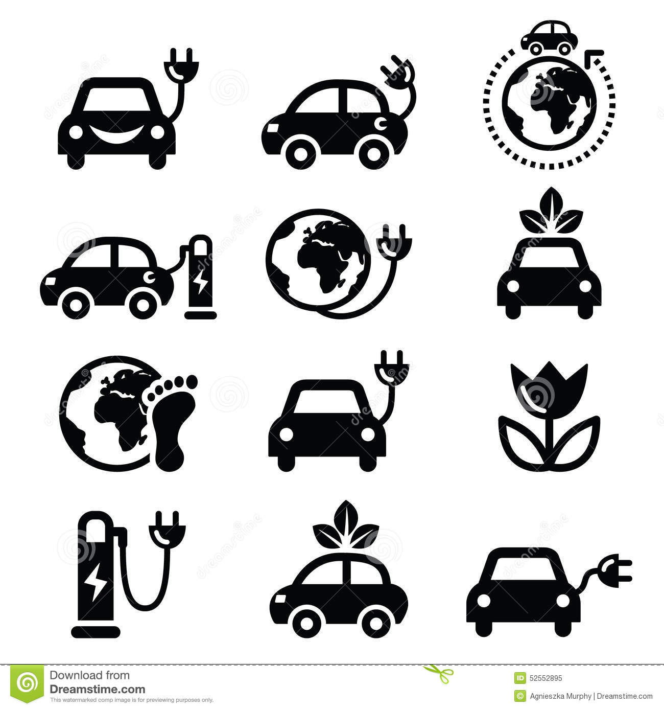 Electric Car, Green Or Eco Transport Icons Set Stock