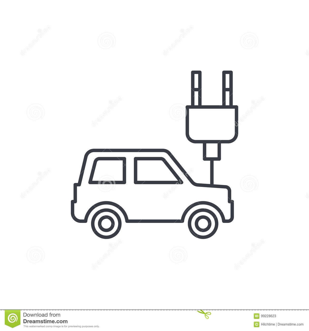 Electric Car Plug Cable Ecology Thin Line Icon Linear