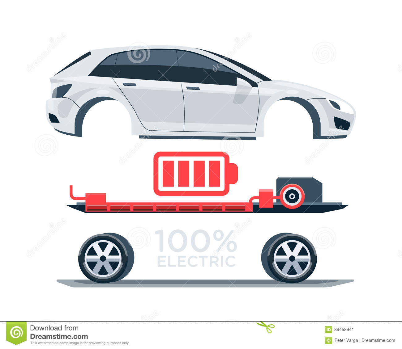 hight resolution of vector illustration scheme of an electric car charging at the charger station showing electrical components like battery pack motor charger controller