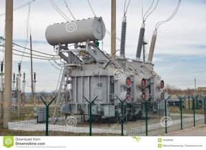 The Electric Current Transformer On The Substation Stock