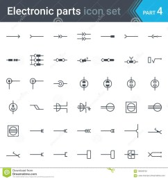complete vector set of electric and electronic circuit diagram symbols and elements electrical connectors sockets plugs and jack [ 1300 x 1390 Pixel ]