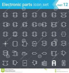 electric and electronic icons electric diagram symbols digital electronics flip flop logic circuit display programming  [ 1300 x 1390 Pixel ]