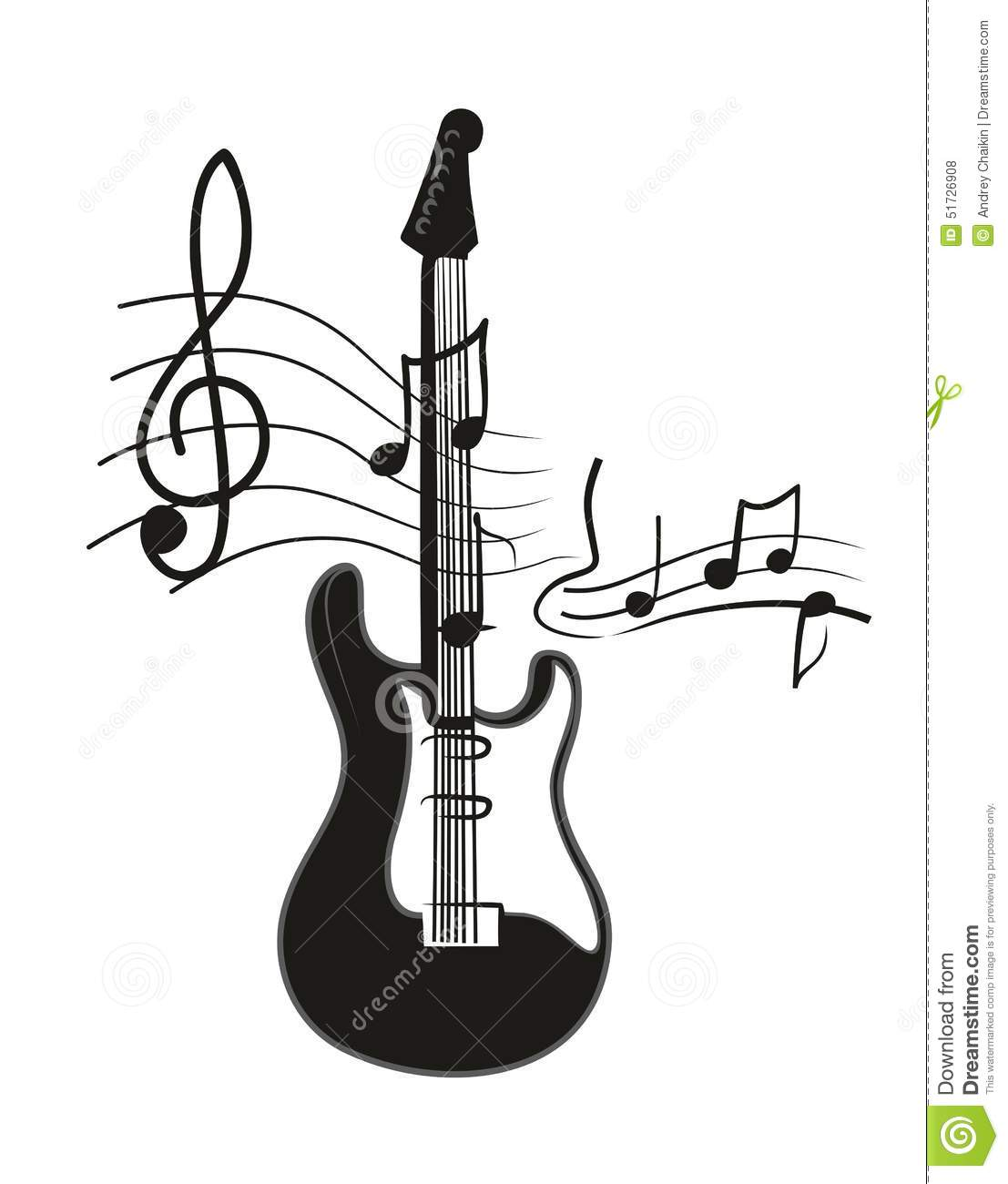 Electric guitar stock vector. Illustration of notes