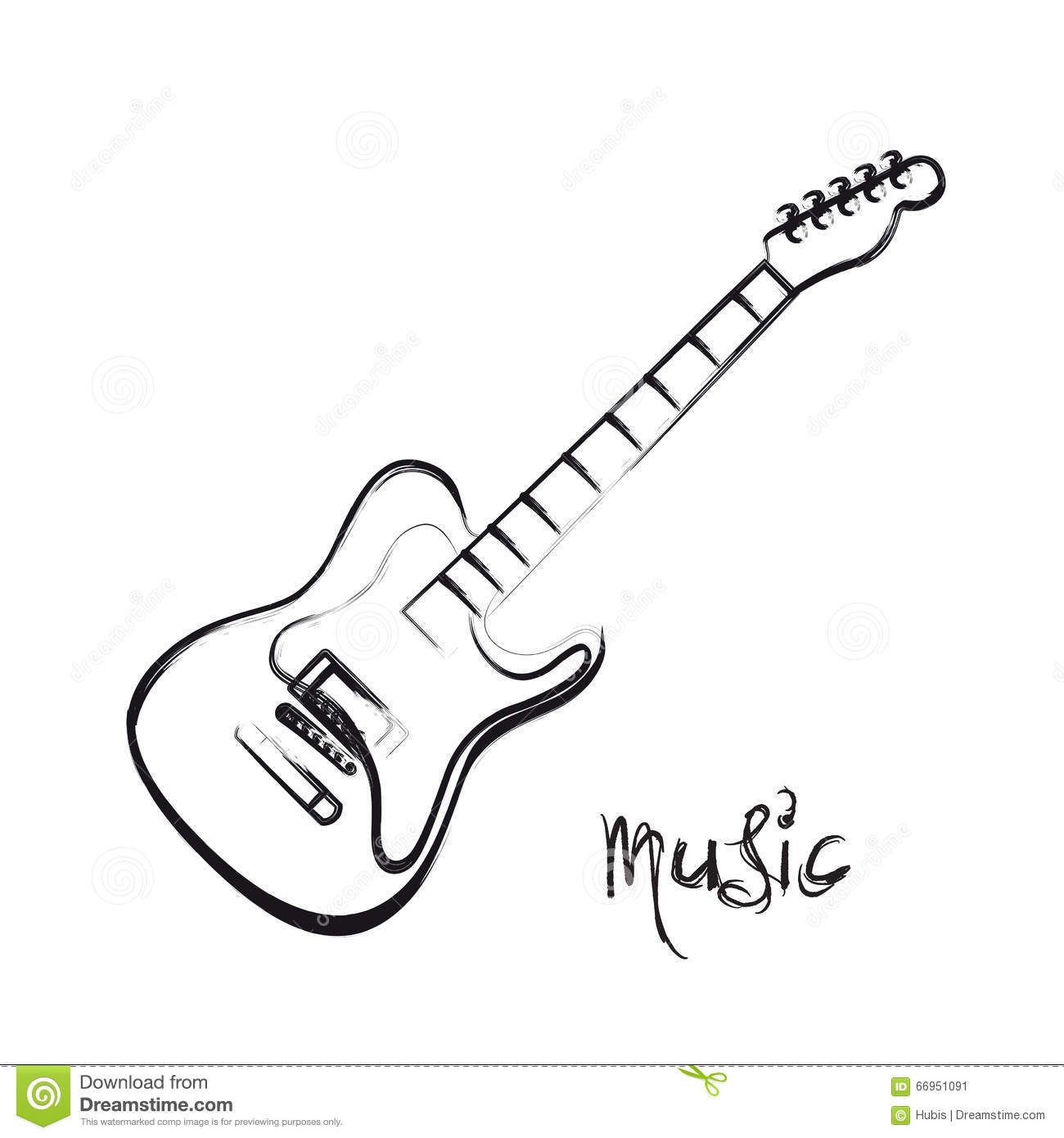 Electric Guitar Hand Drawn Stock Vector Image Of