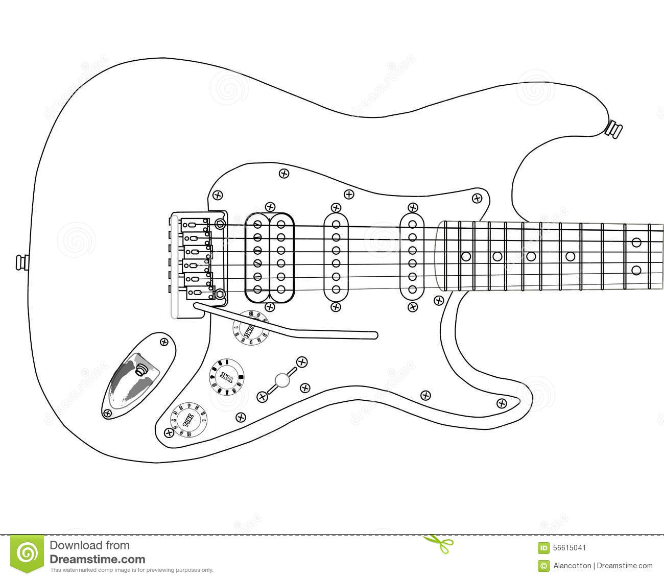 Electric Guitar Outlines Stock Illustration Illustration