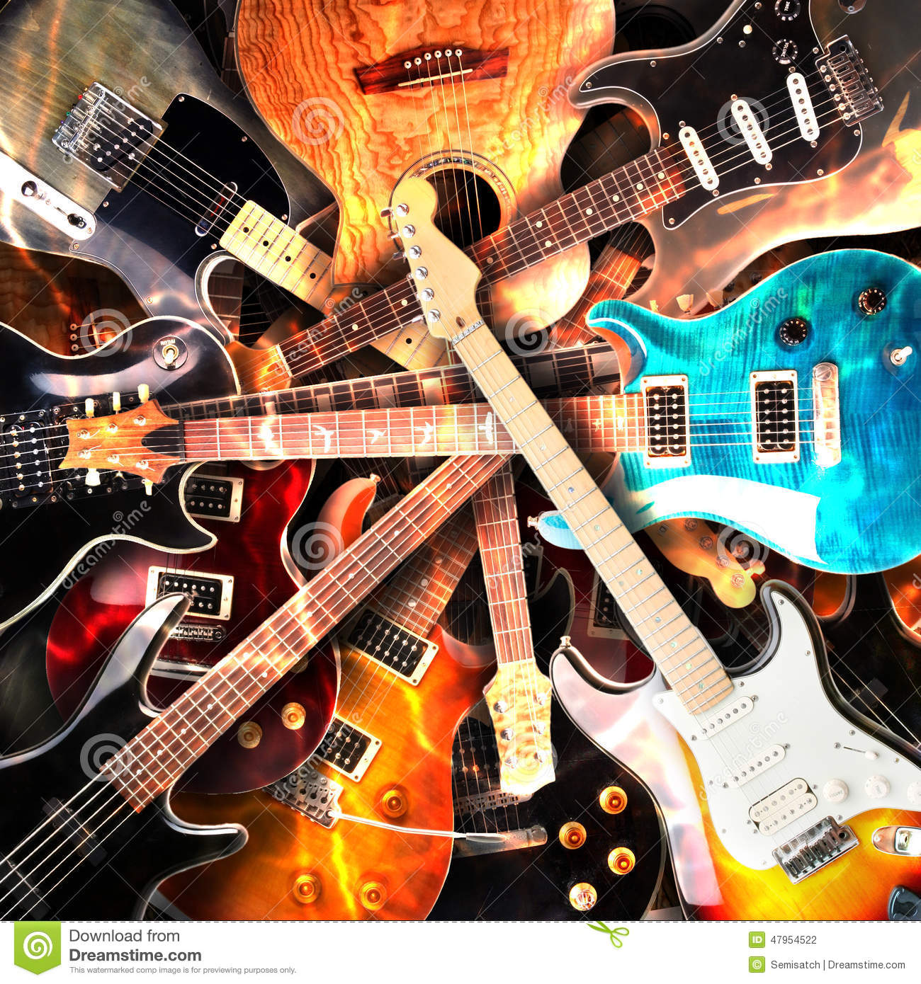 Electric Wallpaper 3d Electric Guitars Background Stock Photo Image 47954522