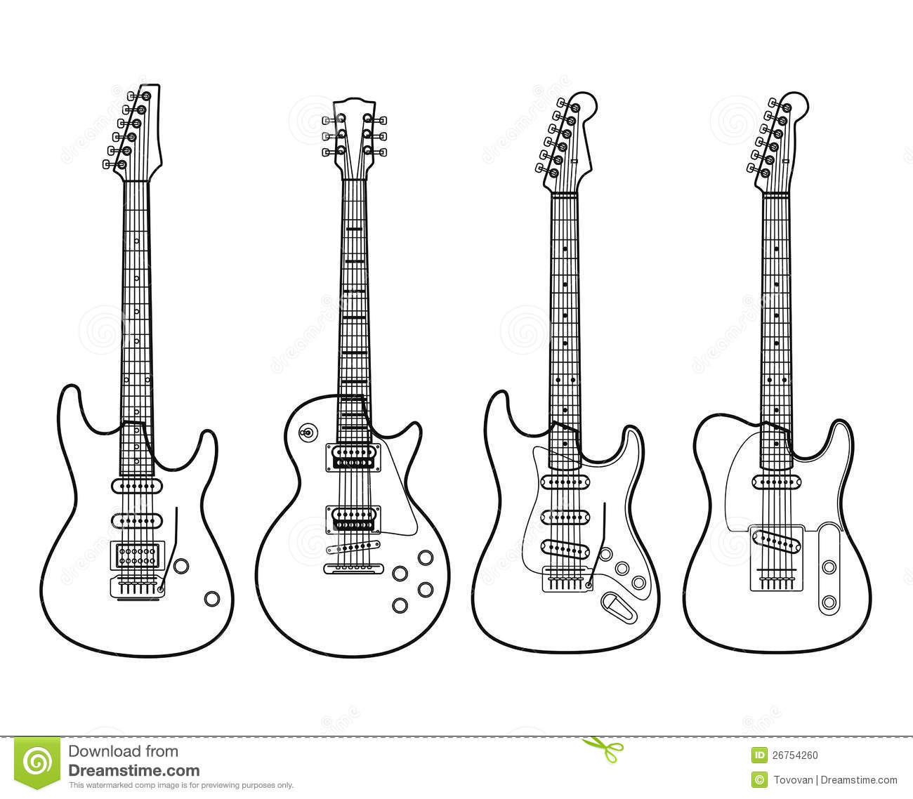 Electric Guitars Isolated On White Stock Vector