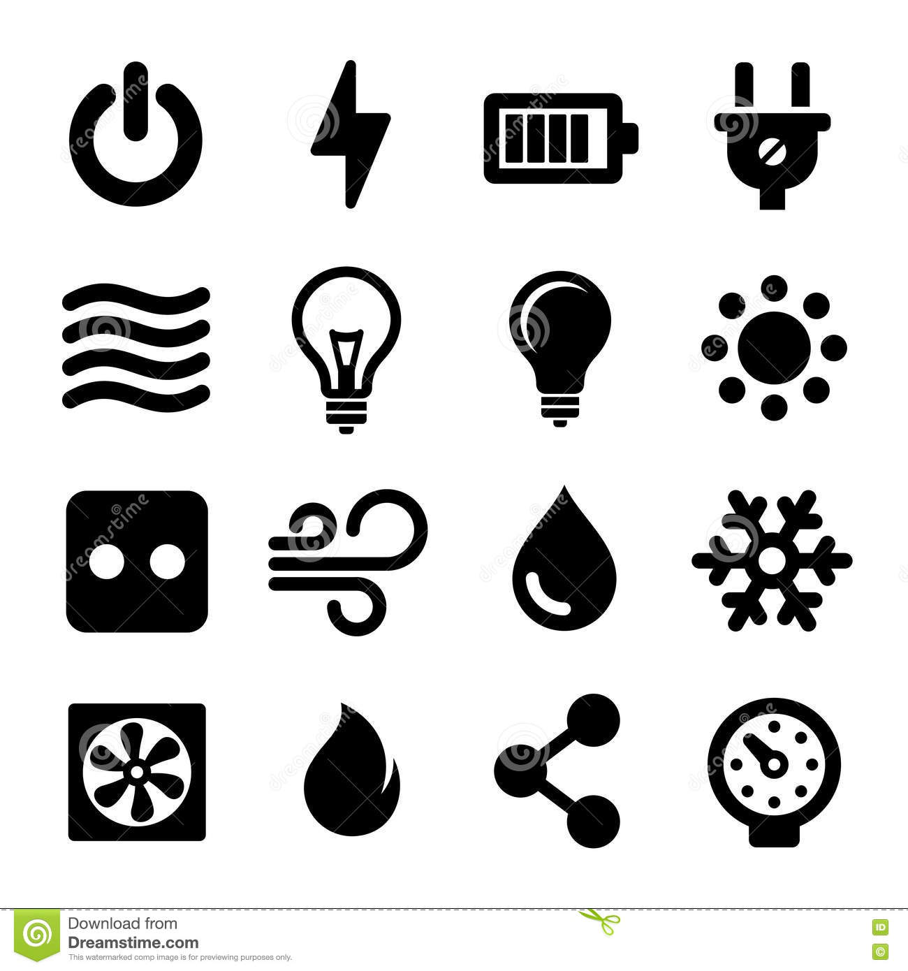 Electric Icons Set Stock Vector Illustration Of Power