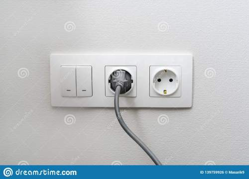 small resolution of electric light switch and socket on the empty wall electrical power socket and plug switched the concept of energy savings