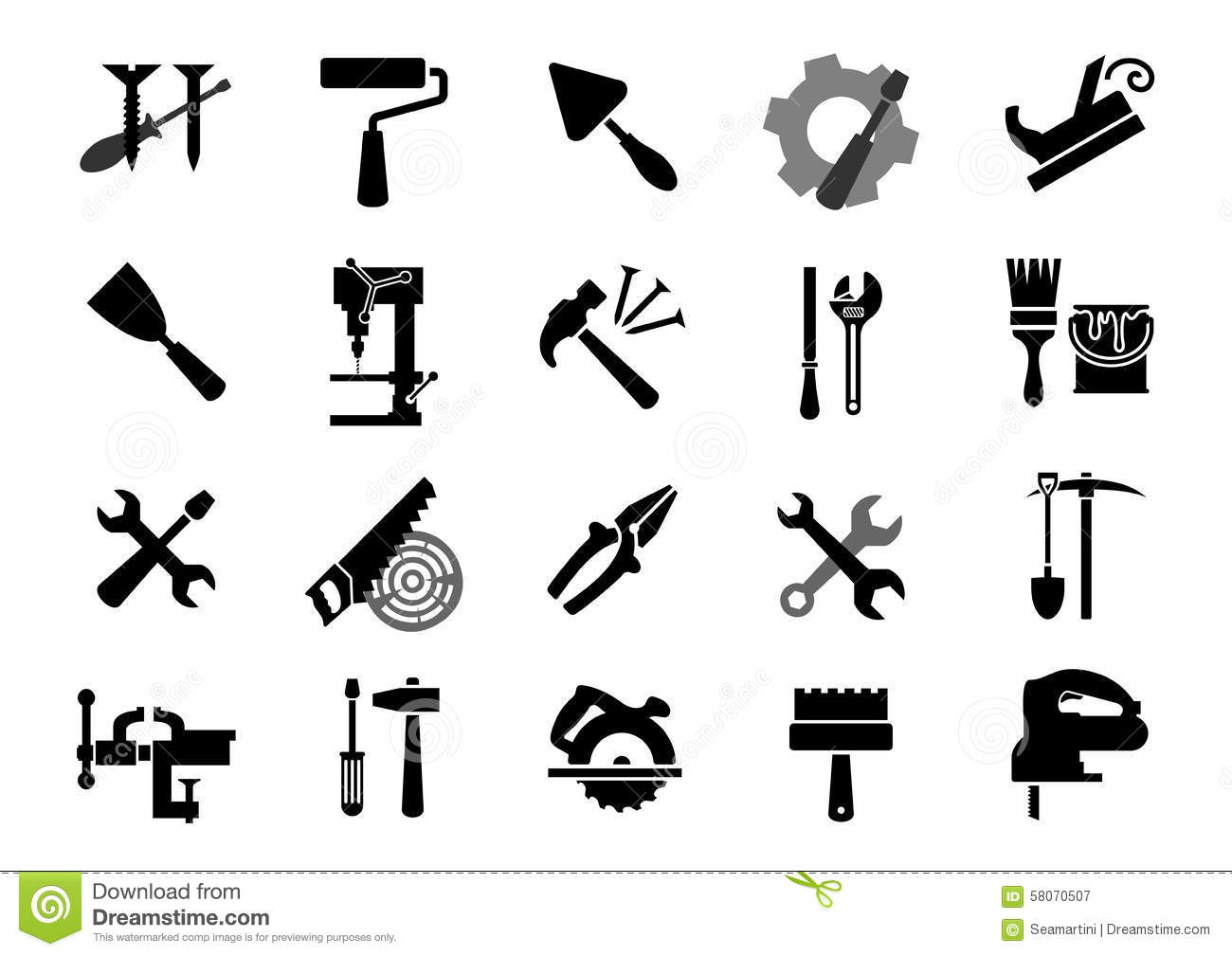 Electric And Manual Tools Black Icons Stock Vector