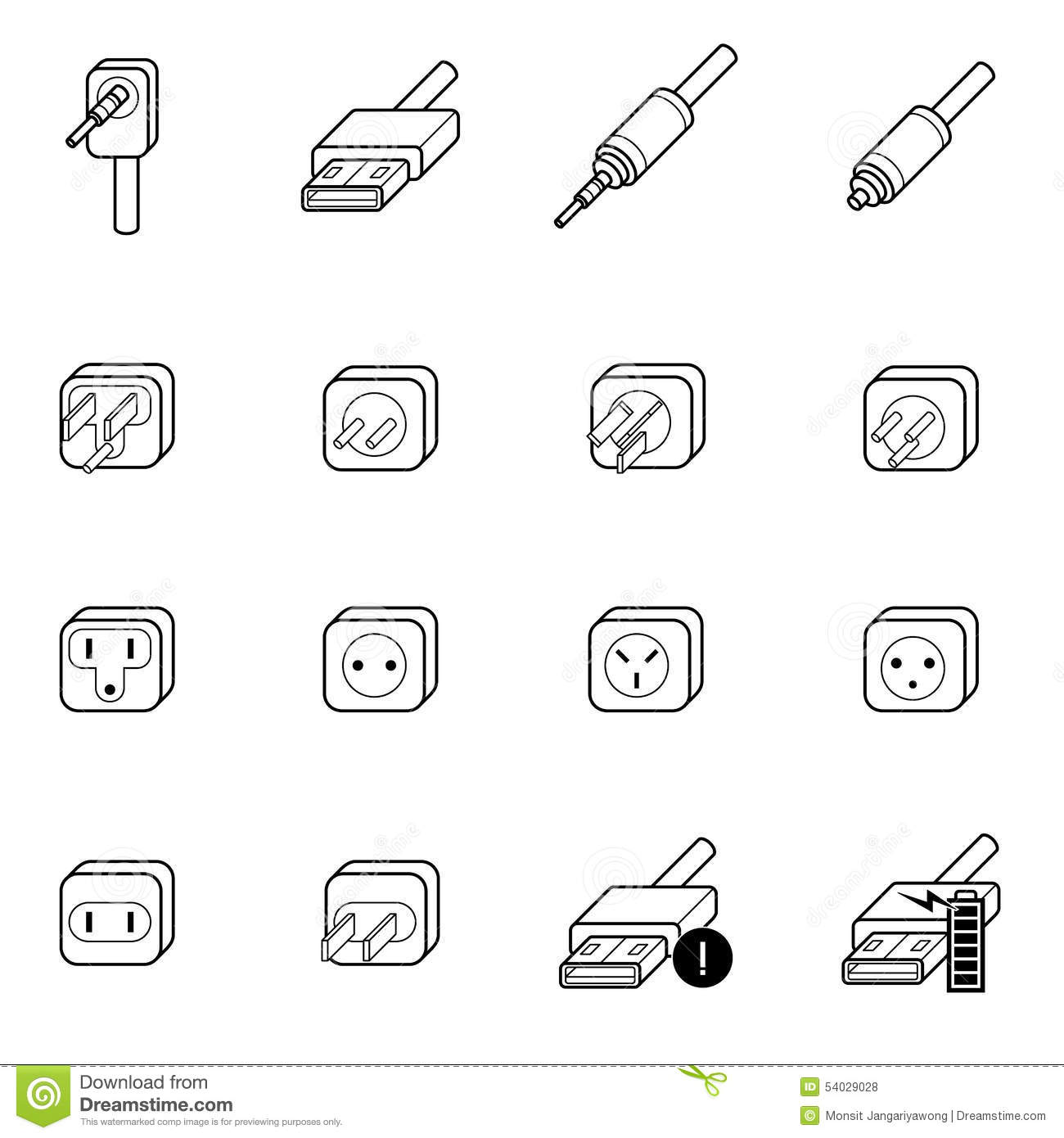 Electric Outlet Cable Wire And Plug Icon Stock Vector