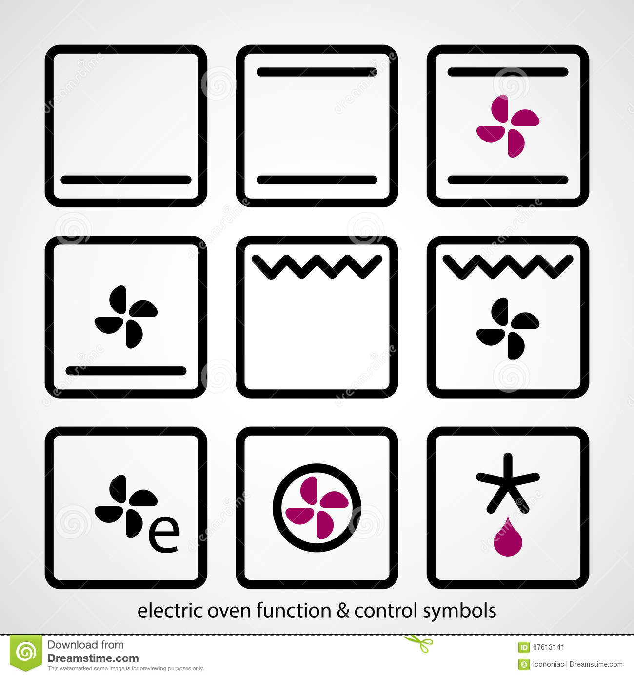 Electric Oven Function Amp Control Symbols Stock Vector