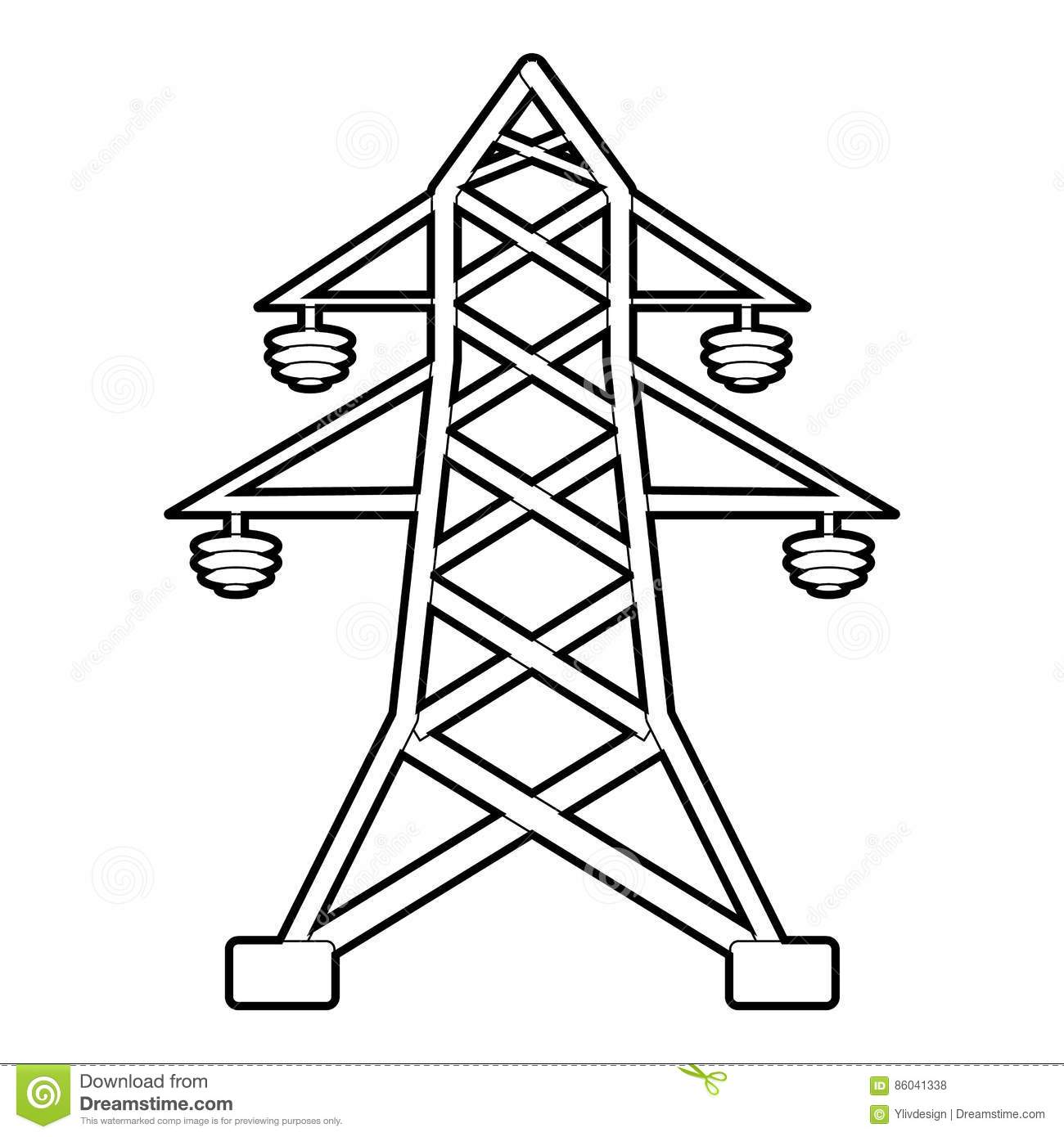 Electric Pole Icon Outline Style Stock Vector