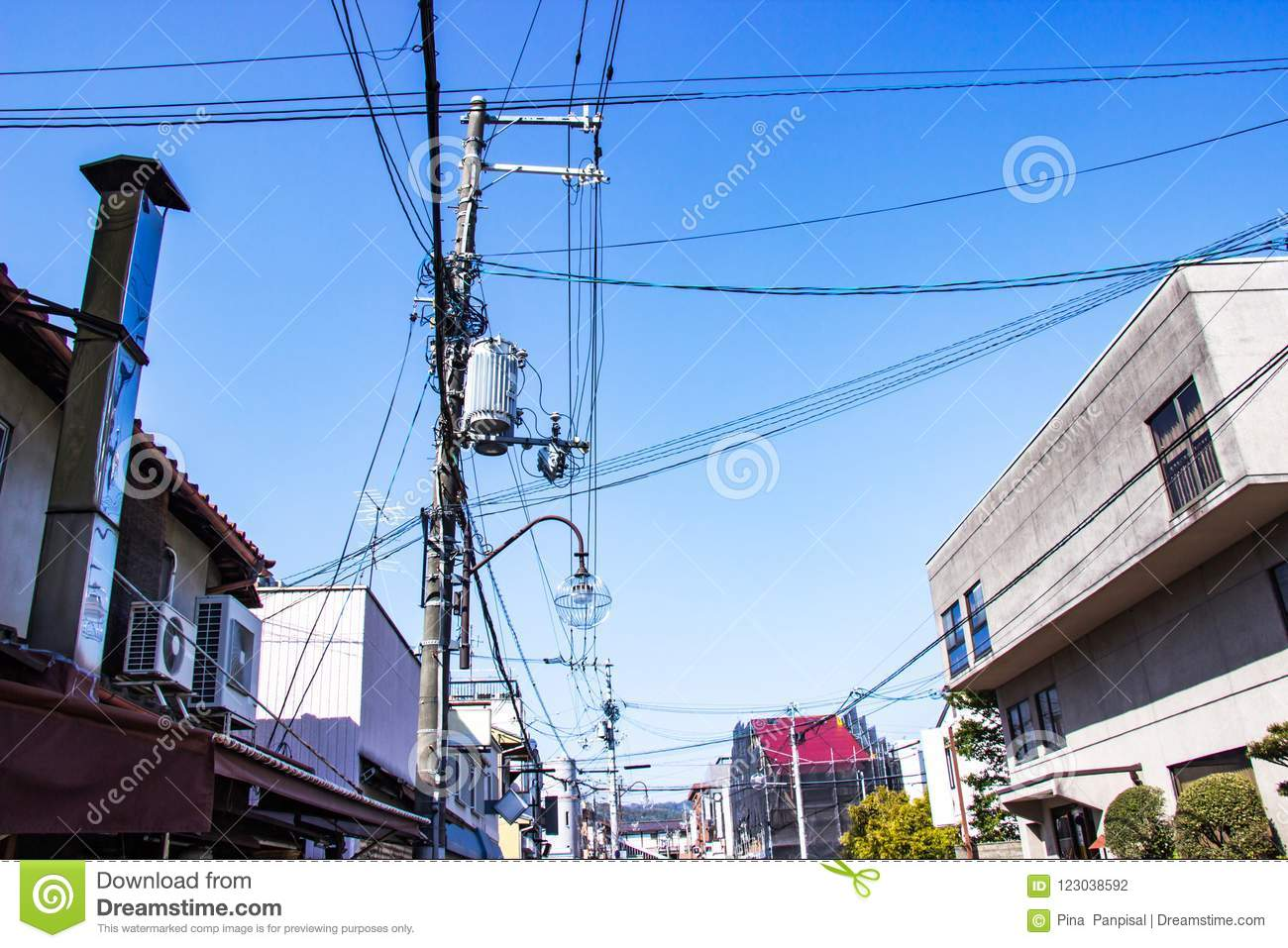 hight resolution of electric pole with wires and lamp outdoor in the streets organized wiring is neat at bright