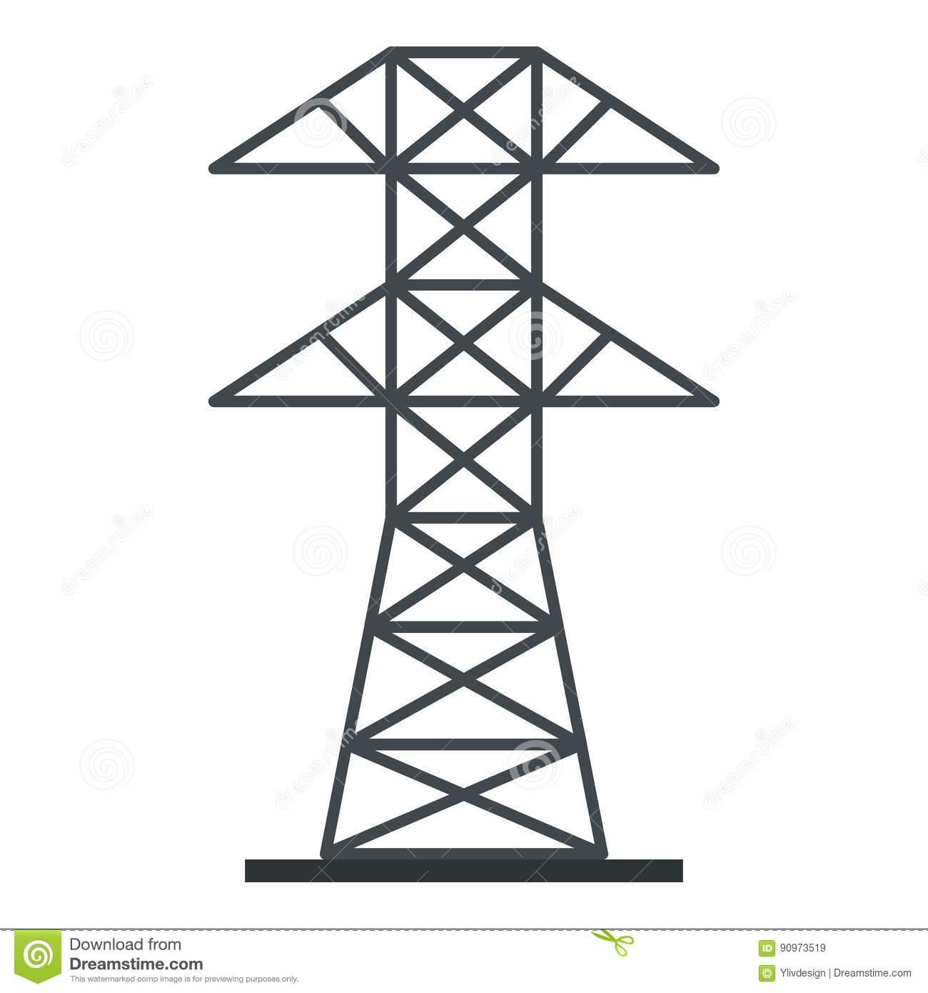 Electric Power Station Icon Isolated Stock Vector