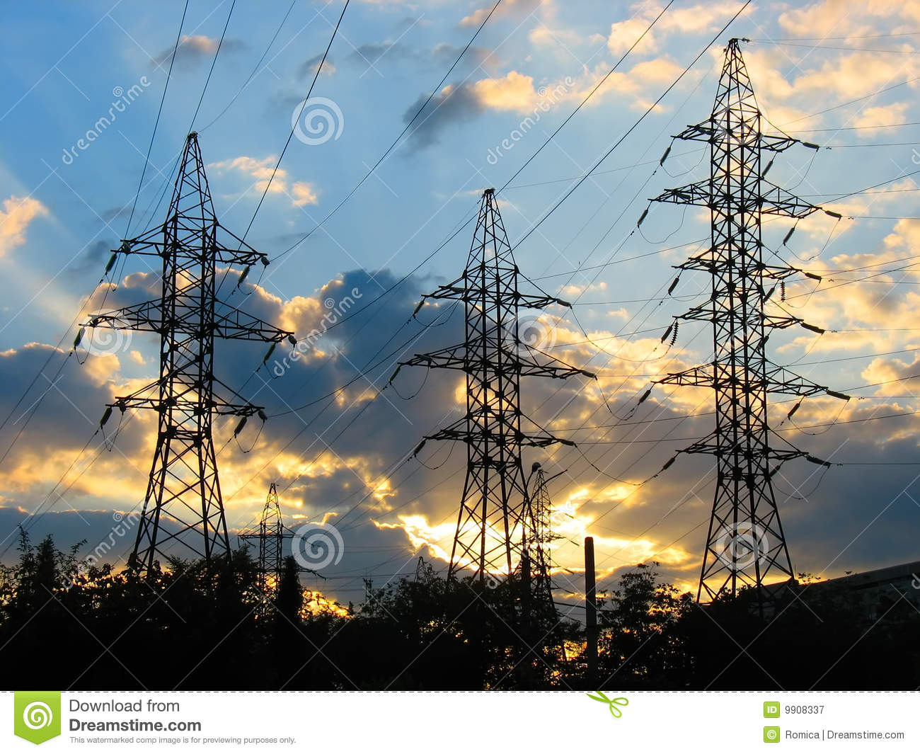 3d Electrical Plan Electric Power Transmission Lines At Sunset Royalty Free